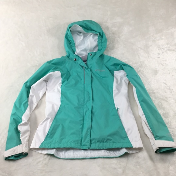 Columbia Other - COLUMBIA RAIN JACKET GREEN AND WHITE L